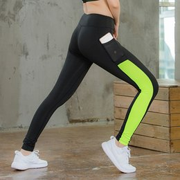 Yoga Pants Xs Canada - CALOFE Slim Running Pants With Phone Pocket Patchwork Fitness For Women Skinny Gym Tithts High Waist Yoga Leggings Sport Pant