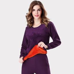 b73a974b29e Winter Style Warm Thermal underwear women sets Soft Cotton embossing print  thick plus velvet plus size XXXL long Johns