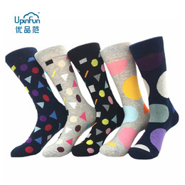 huf stockings UK - UPINFUN Fashionable men's socks full cotton color bumping geometric large dot stockings (5 Pairs Lot)