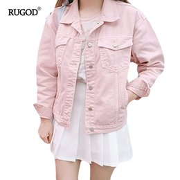 3d3859e6c33 Pink Denim Jackets NZ - RUGOD 2018 Casual Women s Spring Autumn Pink Denim  Jacket Multipurpose Loose