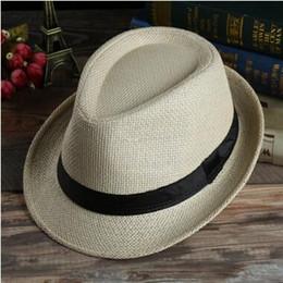 Men Women Panama Straw Hats Fedora Stingy Brim Hats Soft Hats For Unisex 7  Colors Summer Sun Beach Caps Linen Jazz Hat Kid Cap 51114e774b64