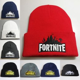 Wholesale beanie embroidery online shopping - Hot Game Fortnite Battle Knitted Hat Fashion Hip Hop Embroidery Knitted Costume Cap Winter Teenager Soft Warm Skuilles Outdoor Beanies