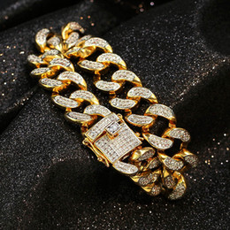 2018 top labs Top Quality Men Bling Iced Out Curb Cuban Chain Bracelets Copper Lab Full Rhinestone Clasp Gold Chain Link CZ Women Bang