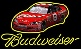 """Car Bar Signs Canada - Budweiser Chevrolet Race Car #8 Neon Sign Handcrafted Real Glass Tube Sport Bar Racing Game Room Beer Store Advertise Display Neon 17""""X14"""""""