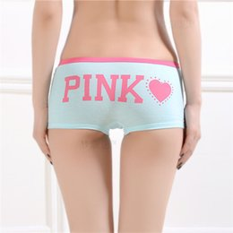 Sexy PINK Panties Women Girl Soft Cotton Underwear Pink Tanga Bragas Briefs  Cute Letter Printed Underpants One Size W075 8baf1920f