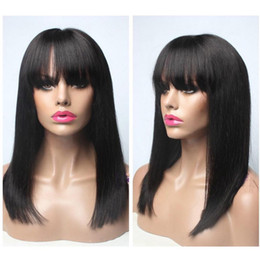 Discount black straight full wigs bangs - Top Silk Straight Bob Wig With Full Bangs Freestyle Short Lace Front Wigs Brazilian Human Hair Cut Bob Human Hair Full L