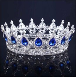 red heart queen 2018 - 2018 Luxury Crystals Wedding Crown Alloy Bridal Tiara Baroque Queen King Crown Clear Royal Blue Red Rhinestone Bridal Ti