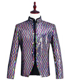 dj stands 2019 - 2018 Men's Stand Collar Multicolor Sequins Jacket Nightclub DJ Singer Chinese tunic suit Coat Costumes For Party ch