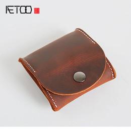 Handmade Leather Coin Purse Wholesale NZ - AETOO Handmade Retro Men's Short Mini Purse Wallets Kid's Gloves Coins Packs Genuine Genuine Leather Wallets