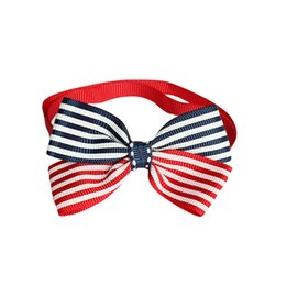 Chinese  Armi store Handmade Red Blue Stripes Ribbon Dog Tie Bow Dog Festival Ties 6031055 Pet Collar Accessories Wholesale manufacturers