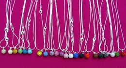 Chinese  whole sale10mm Mixed white Wholesale disco ball Silver Plated Crystal Shamballa Necklace Pendant multicolor snake Chain Rhinestones manufacturers