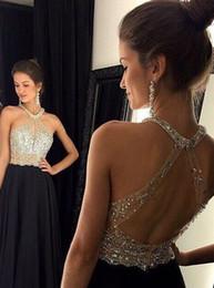 $enCountryForm.capitalKeyWord NZ - Unique Designer Prom Dress Cheap See through Keyhole Back Crystal 2018 Chiffon Halter Sequined Long Rhinestones Sexy Evening Formal Gowns