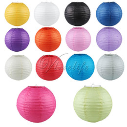"Discount red black paper lanterns - 10pcs 10"" (25cm) Round Paper Lanterns Wedding Birthday Party Decorations Supply Lamp Chinese Paper Ball"