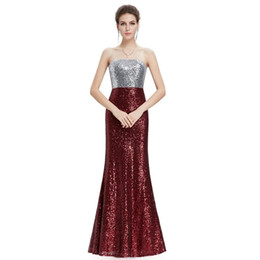red carpet dresses for women UK - Bling Sequins Mermaid Evening Dresses 2019 Strapless Prom Gowns Patchwork Long Party Dress for Women Fast Shipping