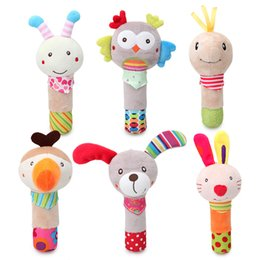 Wholesale 15 cm baby toys hand wand Plush toy cartoon animal dog owl rabbit bee hand rocker toy baby handbell