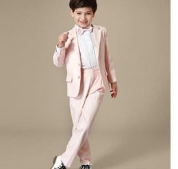Image Boys Dress NZ - New spring and autumn boy suit two-piece suit, boy single-breasted pink dress, children graduation show dress