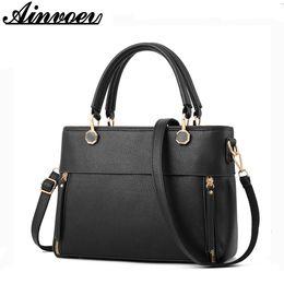 Names Ladies Handbags Australia - Ainvoev Women Bag Pu Leather Tote Brand Name Bag Ladies Handbag Lady Bags Solid Female Messenger Bags Travel Fashion Big a3123