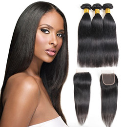 indian straight hair girls Canada - Sraight Hair Bundles with 4x4 Lace Free Closure Mink Brazilian Virgin Hair Peruvian Indian Malaysia Straight Hair Extensions for Black Girl