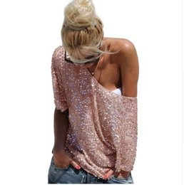 $enCountryForm.capitalKeyWord UK - HOT New 2017 Fashion Women Sexy Loose Off Shoulder Sequin Glitter Blouses Summer Casual Shirts Vintage Streetwear Party Tops