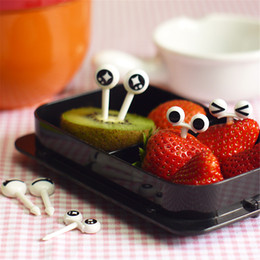 Eco toothpicks online shopping - Originality Eye Cartoon Expression Fruit Fork Plastic Fruit Toothpick For Children Bento Decorative Tableware food picks A2074c
