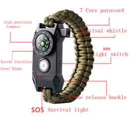 Food channel online shopping - 2018 new design mix color Climbing Rope Survival Cord Bracelets Outdoor Paracord Bracelets with SOS LED Light Compass Hope Bangles
