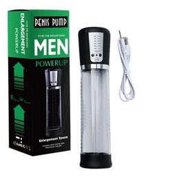 USB Şarj Edilebilir Elektrikli Penis Pompası Büyütme Erkek Vakum Penis Extender Horoz Büyütücü Erector Yetişkin Oyuncakları Erkekler Için Seks Ürünleri Eşcinsel