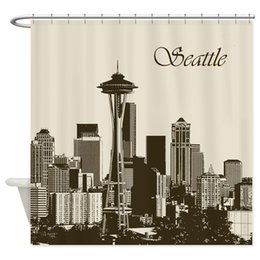 """Scenic Curtains Australia - Awesome Seattle Skyline - Decorative Fabric Shower Curtain (69""""x70"""")"""