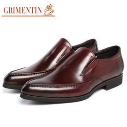 $enCountryForm.capitalKeyWord UK - GRIMENTIN Solid Italian fashion mens dress shoes genuine leather black brown slip on basic flats men shoes for work office