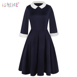 pan sizes UK - 2018 Spring Preppy Style Dress Cute A-line Peter Pan Collar School Preppy Style Dresses Casual Slim vintage Vestidos Plus Size