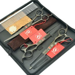 $enCountryForm.capitalKeyWord NZ - Meisha 7.0Inch Cat Dog Hair Scissors Set Black Up Curved Cutting Shears Japan 440c Thinning Tijeras for Pet Grooming Salon Clippers HB0128