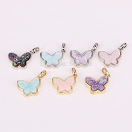 color stone charms NZ - 10PCS ZYZ294-9984 Natural crystal quartz stone buerfly pendant gold   silver color bezel drusy insect charms pendant