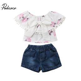 4be7b797832 2018 Brand New Toddler Infant Child Kids Baby Girl Floral Tassel Tops Denim  Shorts Pants Jeans Summer 2Pcs Sets Outfits Sunsuit
