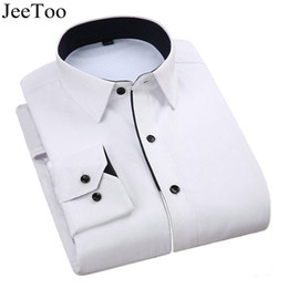 velvet shirts for men 2019 - JeeToo 2017 Thick Velvet Mens Dress Shirts Long Sleeve Business Formal Shirts Men White Blue Fashion Career Work Shirt F