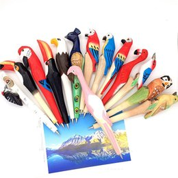 Wholesale wood panda resale online - Creative Gifts Wood Carving Animal Owl Panda Cat Cartoon Office Supplies Pure hand Ballpoint Pen Cute Stationery Pen T3I0027