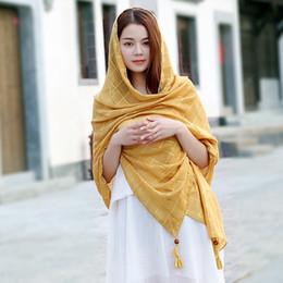 $enCountryForm.capitalKeyWord NZ - New Cotton and Linen Scarf Foulard Plain Plaid Tassel Hijab Muslim Wrap Sjaal for Woman Lady In Summer Autumn 180*90CM