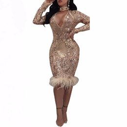 f49dfb5f852 Sexy cut out bodycon sequin dress autumn winter see through mesh party club  dresses women long sleeve feather dress