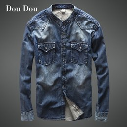 2018 Hot New Male Bomber Jean Denim Jacket Men Coats Veste Homme Jaqueta  Masculina Brand Fashion Jeans Cowboy Autumn Retro Dark b7b4afb96a97