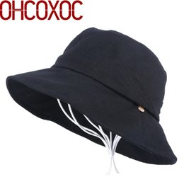 1bc86273bcf women new design Bucket Hats casual cotton hat solid color soft little  metal logo decorated campaniform style female girl caps