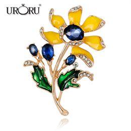 b7984b2f77b URORU Brooch, Elegant Tulip Flower Brooch Pin Crystal Rhinestone Costume  Jewelry Clothes Accessories Brooches For Wedding supplier tulip jewelry