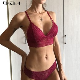 Discount young girls cotton lingerie - New Young Girl Seamless Vest Bra Set Plus Size 38 36 Ultrathin Cotton Women Lingerie Sexy Embroidery Lace Underwear Sets
