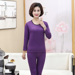 Wholesale plus size thermal underwear resale online - New Autumn Winter Fleece Warm Pieces Set Women Long Johns Large Size Slim Soft Thermal Underwear Mother Plus Size XL XL