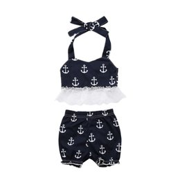 Chinese  Summer Toddler Baby Girls Anchor Lace Sleeveless T shirt Shorts 2Pcs Outfits Baby Girl Print Clothes 0-3T manufacturers