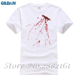 5721815b6832 Fake Bloody Stab Wound T-Shirt - Halloween Knife Cut Stain Fancy Dress Mens  Top O Neck Short Sleeves Boy Cotton Men