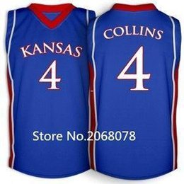 20a535c8db7 Cheap Sherron Collins Jersey  4 Kansas Jayhawks Red Blue White Retro vest  T-shirt Double Stitched College Basketball Jersey