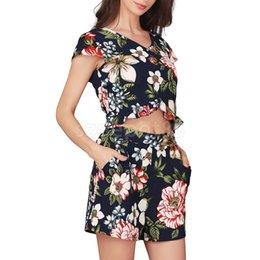 c46de7944e5 Fashion Boho Style Women s Two-Piece Floral Crop Top Shorts Set Summer  Beach Co Ords Set Romper Jumpsuit Outfits