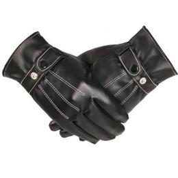 Men Gloves Leather Sheepskin NZ - Autumn Winter Men Touch Leather Gloves Screen Touch Glove Black Mobile Sensory Leather New Arrival PU Faux Sheepskin Gloves 2018