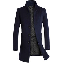 483ec24e9357b Men s Solid 3 Buttons Single Breasted Wool Winter Coats for Men Medium Long Jackets  Man s Slim fit Peacoat 2018 Male Trench