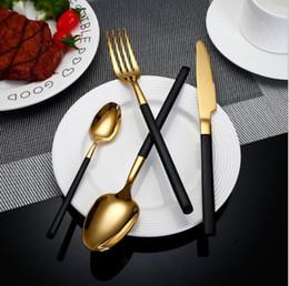 Luxury Stainless Steel Cutlery NZ - 5pc set Flatware Luxury High Quality 18 10 Stainless Steel Cutlery Set Black Handle Gold Dinnerware Dessert Spoon Fork Knife wn583 200set