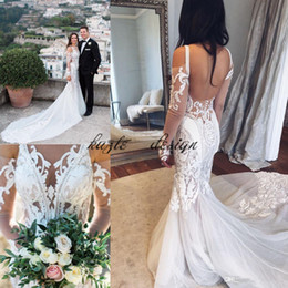 pallas couture wedding dresses NZ - Illusion Long Sleeve Mermaid Country Garden Wedding Dresses 2018 Pallas Couture Sheer Neck Lace Tulle Fishtail Wedding Bridal Dress