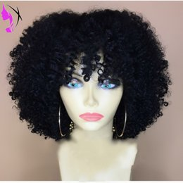 $enCountryForm.capitalKeyWord NZ - 150% Afro Kinky Curly Wig short Glueless Lace Front Wig with bangs synthetic hair For Women black brown  blonde color